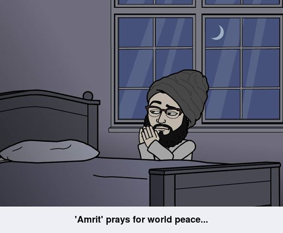 Amrit Prays for the world peace.